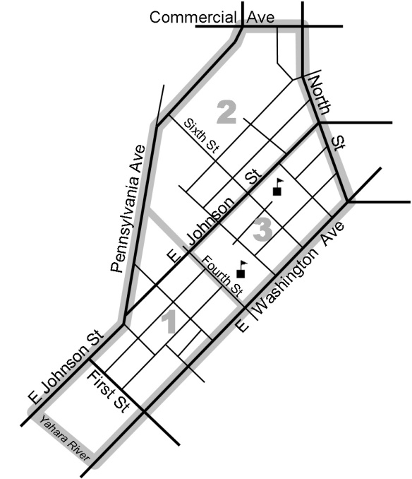 A map of the EENA neighborhood, showing area boundaries.